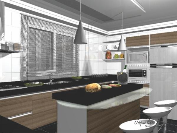 Cozinha com ilha central vista bancada refeição geladeira