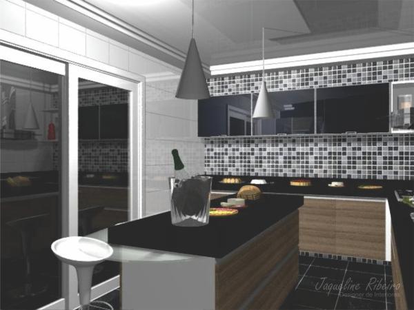 Cozinha com ilha central- Vista basculantes vidro preto
