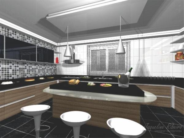 Cozinha com ilha central vista frontal ilha bancada refeição