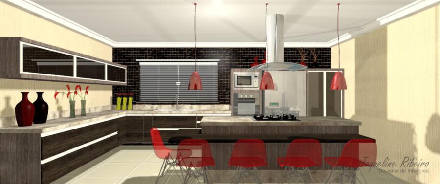 Cozinha moderna vista bancada para refeições