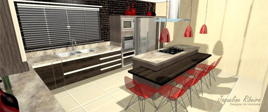Cozinha moderna vista bancada refeições geladeira