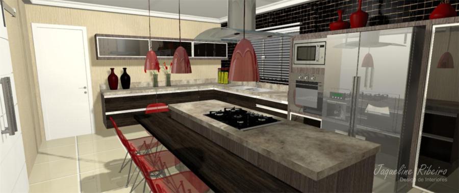Cozinha moderna vista cooktop coifa geladeira forno microondas pia