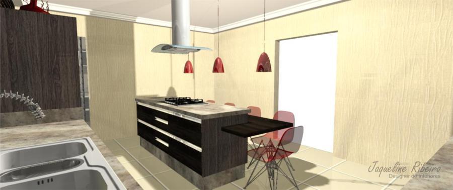Cozinha moderna vista frontal bancada cooktop