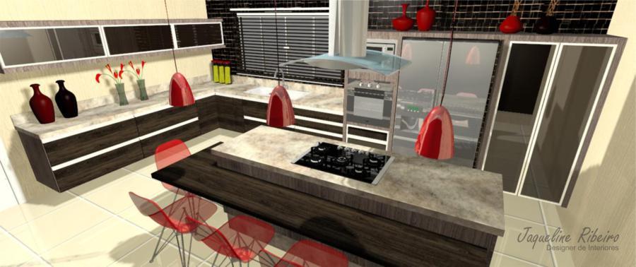 Cozinha moderna vista geral do ambiente superior