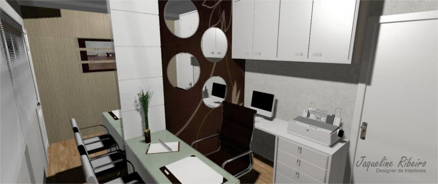 Escritório pequeno - Vista armários superiores e espelhos redondos