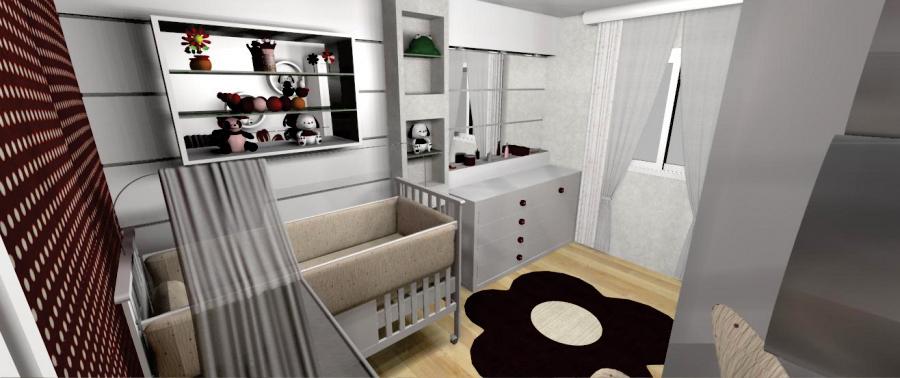 Quarto bebê vermelho - Vista berço - Nicho espelho e penteadeira