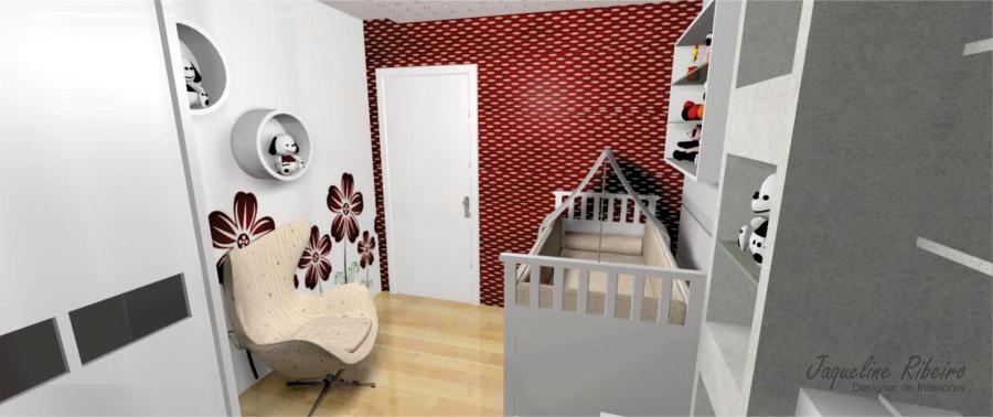 Quarto bebê vermelho - Vista berço e poltrona