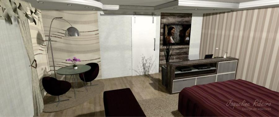 Quarto com escritório - Vista mesa de vidro e poltronas - Painél de TV e móvel de eletrônicos