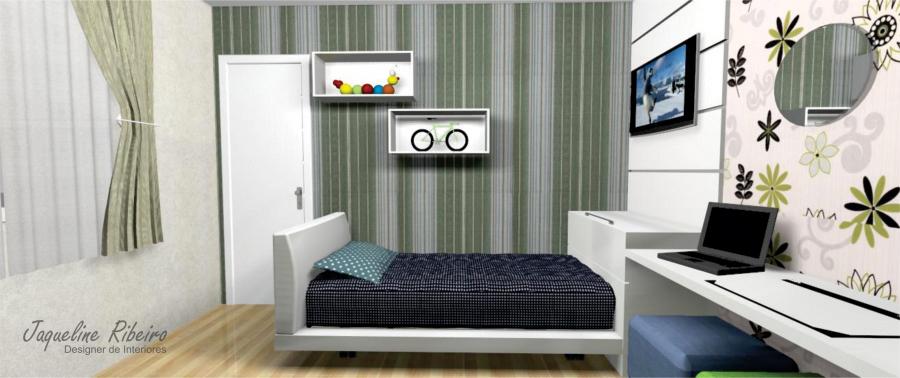 Quarto infantil - Vista cama - nichos parede - 2