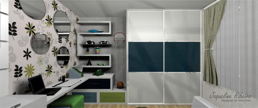 Quarto infantil - Vista guarda roupa e prateleiras parede - 2