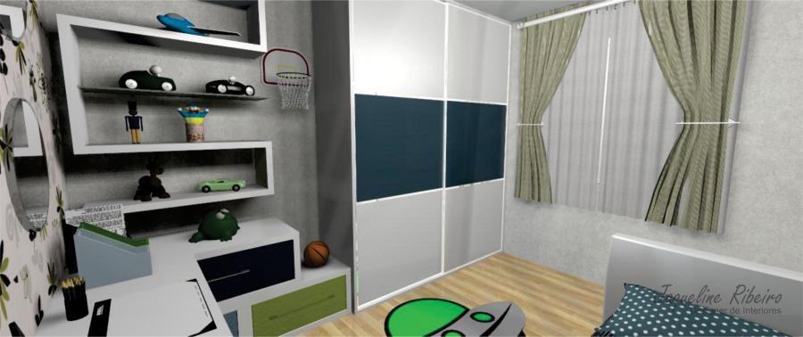 Quarto infantil - Vista guarda roupa e prateleiras parede