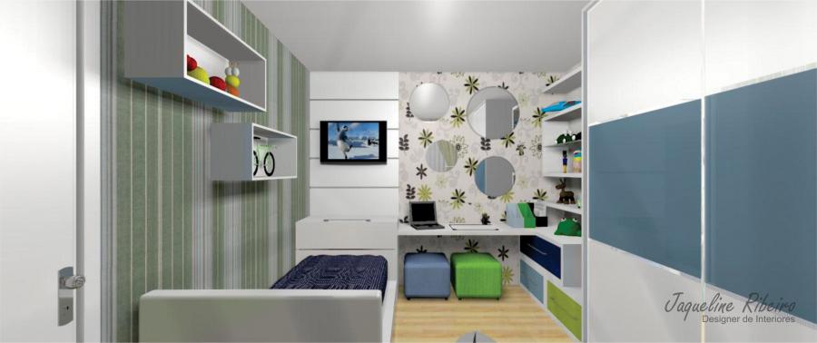 Quarto infantil - Vista painel TV e bancada de estudos