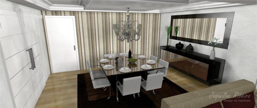 Sala de jantar preto - Espelho vidro fume - área externa - Sala de jantar