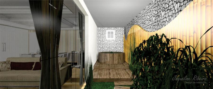 Sala de jantar preto - Espelho vidro fume - Área externa - Vista Área externa ofurô