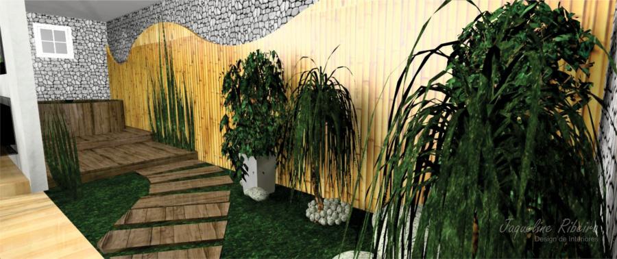 Sala de jantar preto - Espelho vidro fume - Área externa - Vista Área externa plantas