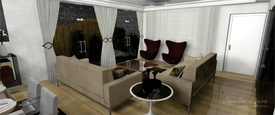Sala de jantar preto - Espelho vidro fume - Área externa - vista sala estar Área externa