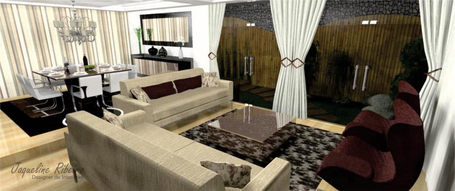 Sala De Estar Integrada Com Jantar ~  vidro fume  Área externa vista sala de estar para sala de jantar