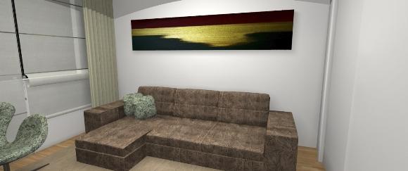 Sofá retrátil e quadro na parede