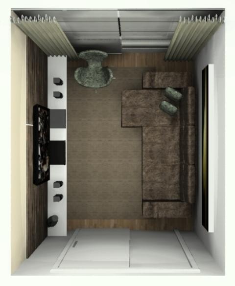 Vista superior do tapete, do espaço e da porta
