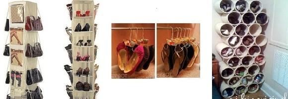Organização de sapatos e bolsas com economia